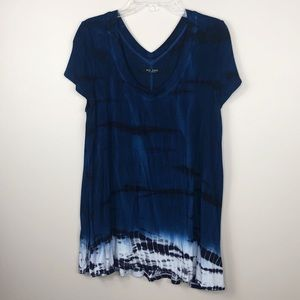 Max Jeans Tie Navy Blue & White Dye Tunic T-Shirt